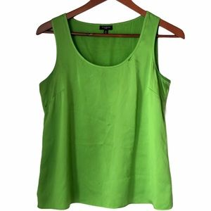 Talbots Petite Green Silk Sleeveless Tank Top 4P